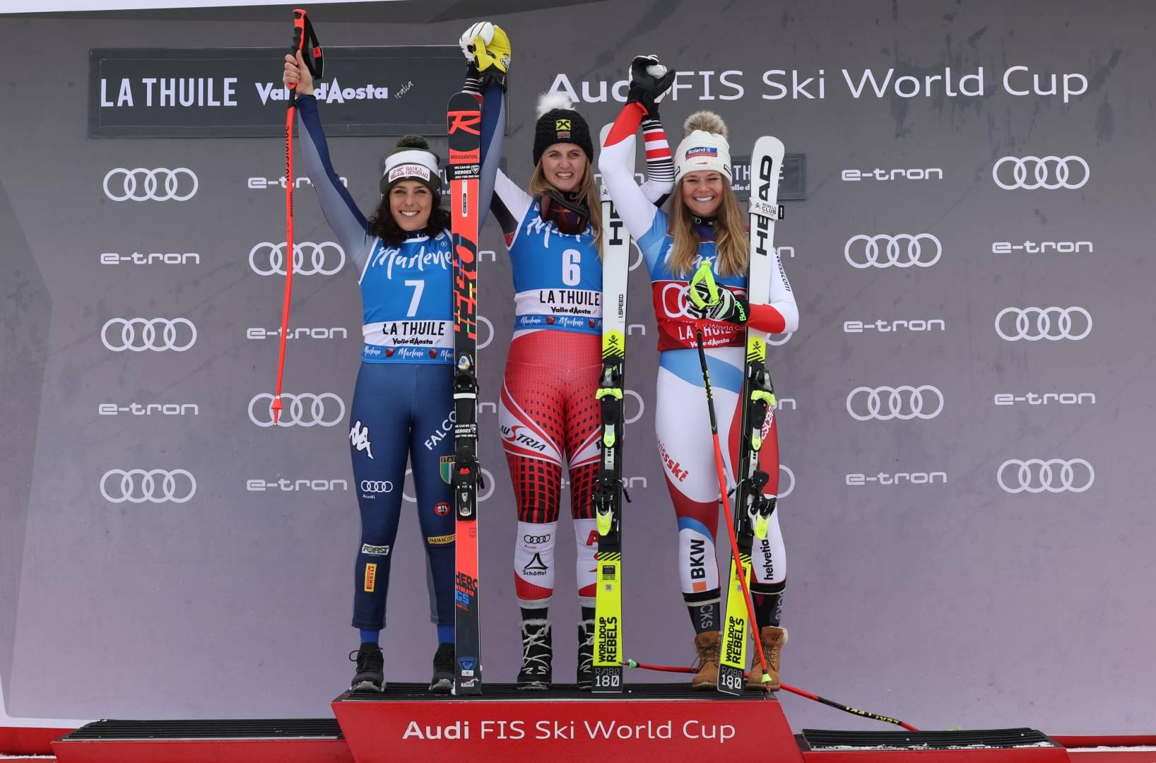 Ski World Cup: il podio del Super G